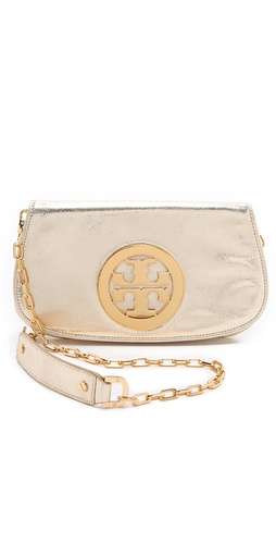 Shop Tory Burch Metallic Logo Clutch and Tory Burch online - Accessories,Womens,Handbags,Clutch, online Store