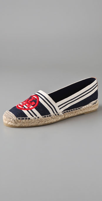 Tory Burch A Line Stripe Espadrilles with Logo