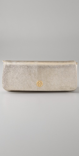 Tory Burch Metallic Saffiano Baguette Clutch