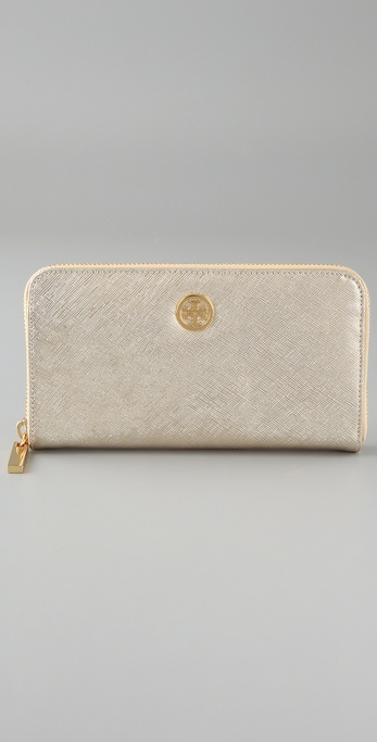 Tory Burch Metallic Saffiano Zip Continental Wallet