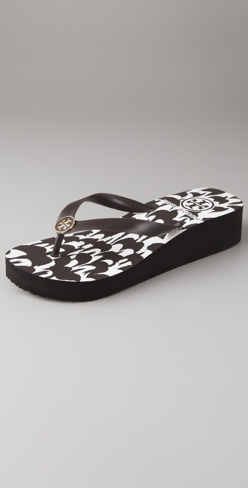 Tory Burch Enamel Wedge Flip Flops