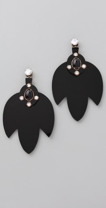 Tory Burch Multi Jeweled Leaf Dangle Earrings