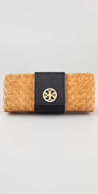 Tory Burch Rattan Turn Lock Clutch