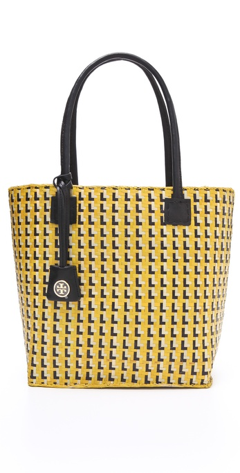 Tory Burch Basketweave Straw Small Tote