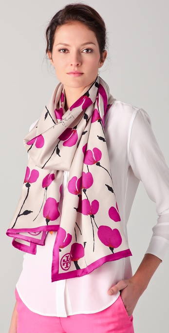 Tory Burch Poppies Silk Scarf