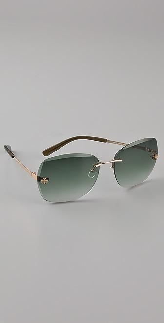 Tory Burch Rimless Aviator Sunglasses