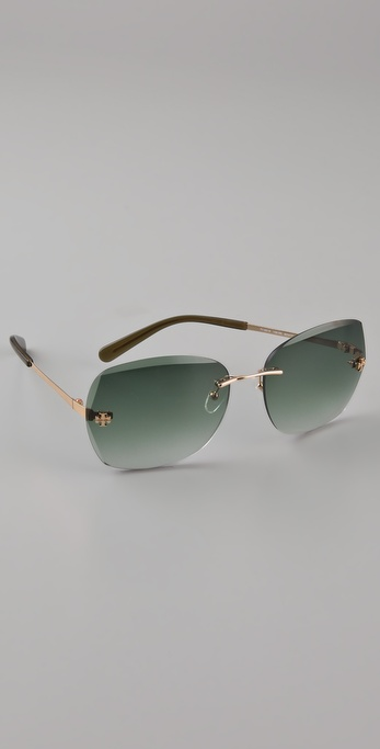 Tory Burch Rimless Aviator Sunglasses