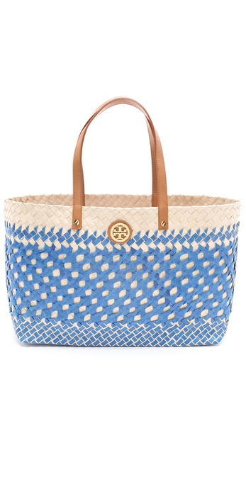 Tory Burch Small Straw Square Tote