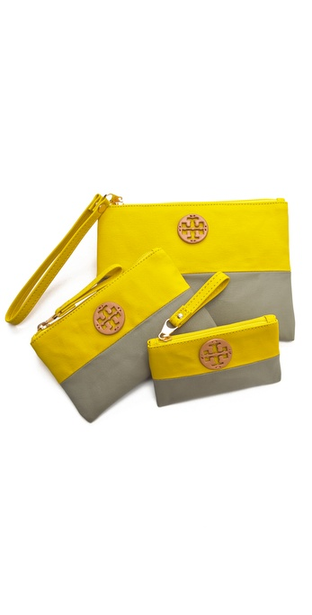Tory Burch Dipped Canvas Zip Pouch Set