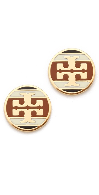 Tory Burch Striped Logo Stud Earring