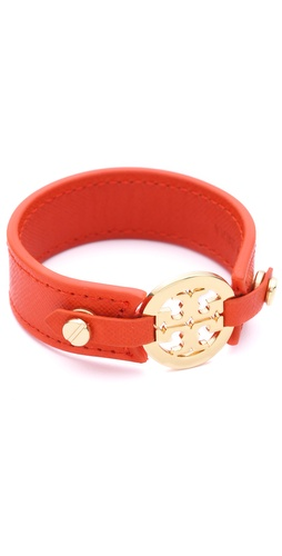 Tory Burch Logo Skinny Double Snap Cuff