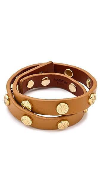 Tory Burch Logo Studded Wrap Bracelet