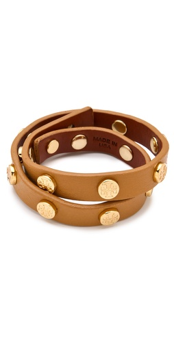 Tory Burch Logo Studded Wrap Bracelet