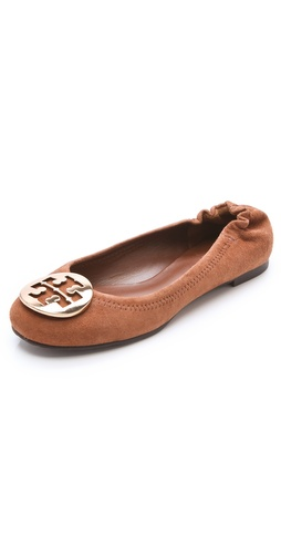 Shop Tory Burch Reva Suede Flats and Tory Burch online - Footwear,Womens,Footwear,Flats, online Store