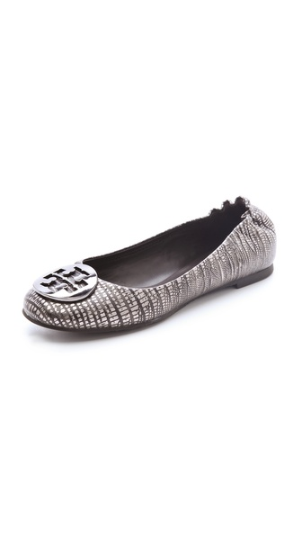 Tory Burch Reva Metallic Lizard Print Flats