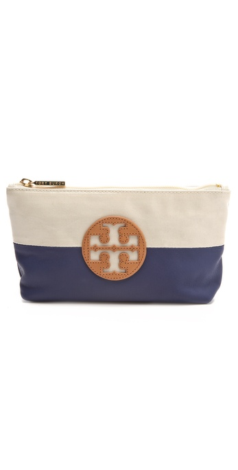Tory Burch Coated Canvas Small Cosmetic Case