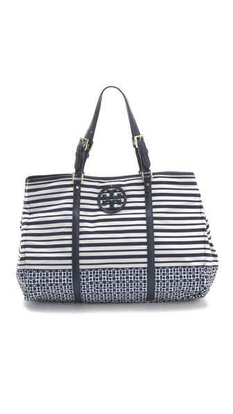 Tory Burch Stacked Logo Nylon Ella Tote