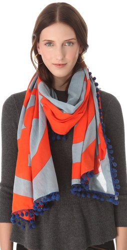 Tory Burch Reva Scarf with Pom Poms