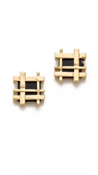 Tory Burch Mini Gingham Earrings