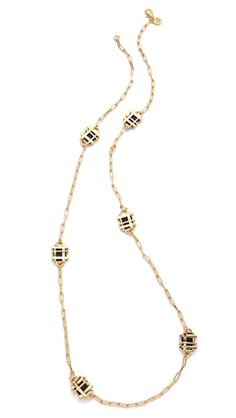 Tory Burch Gingham Rosary Necklace