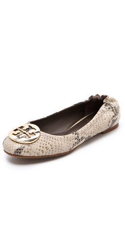 Shop Tory Burch Reva Python Print Flats and Tory Burch online - Footwear,Womens,Footwear,Flats, online Store