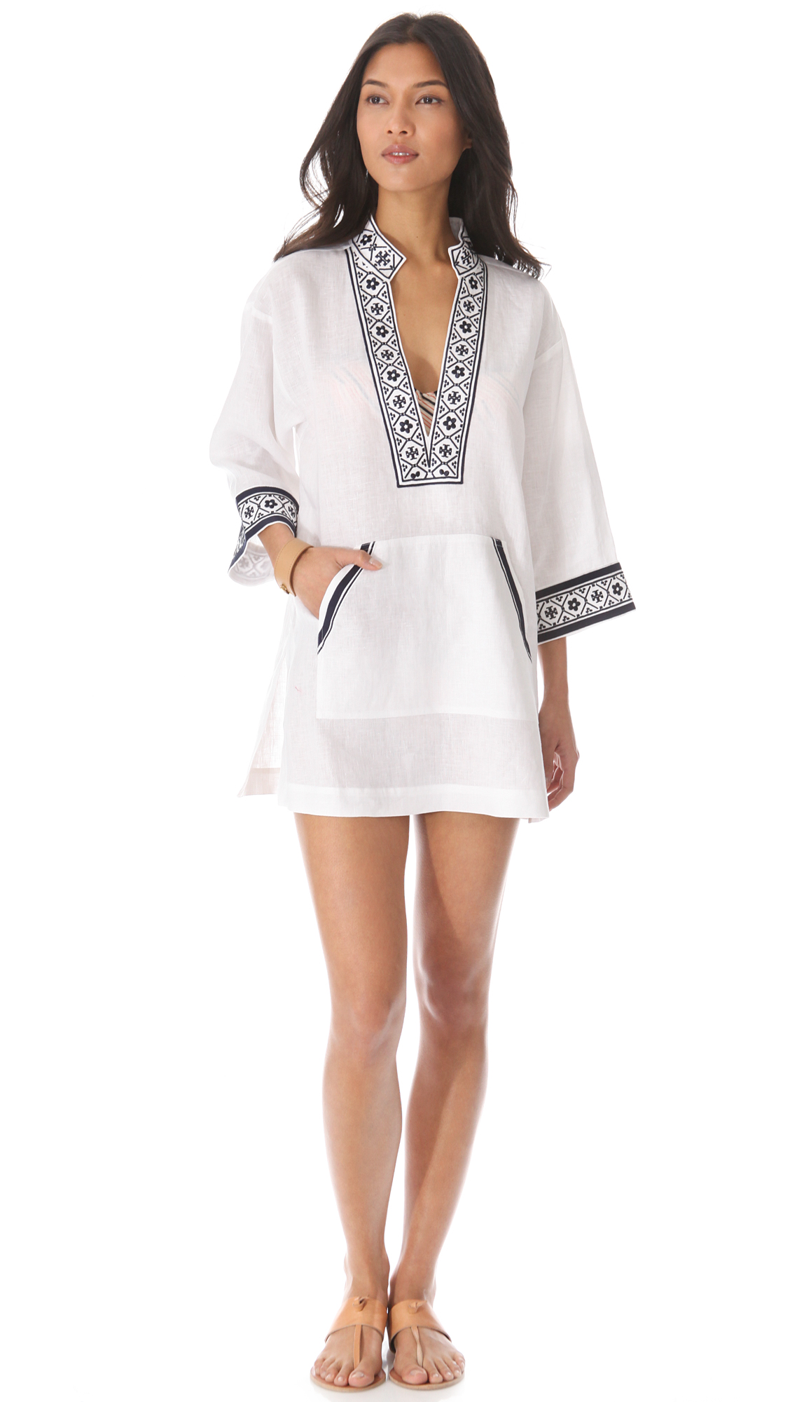 cd1bf4f57ba8 Tory Burch Tory Linen Tunic Cover Up on PopScreen