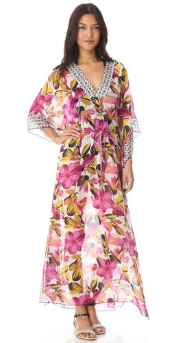 Shop Tory Burch Catarina Caftan Cover Up Maxi Dress online and buy Tory Burch latest season - Apparel, Womens, Swim, Coverups,  online shop