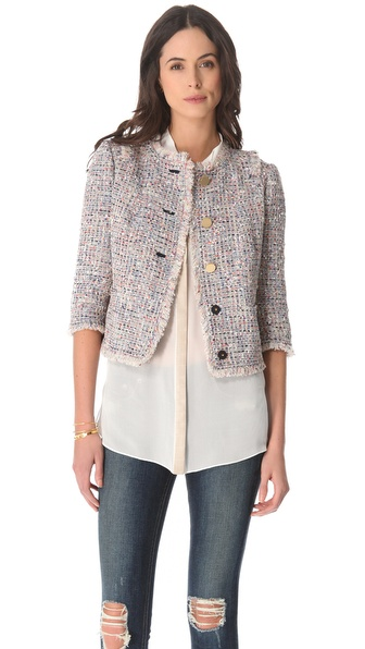 Tory Burch Emma Knotted Tweed Jacket