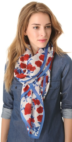 Shop Tory Burch Lealan Mix Print Scarf and Tory Burch online - Accessories,Womens,Fashion_Accessories,Scarves, online Store