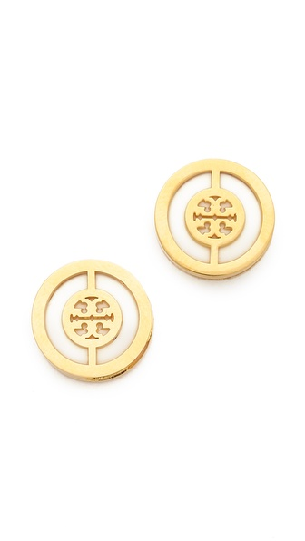 Tory Burch Deco Logo Stud Earrings