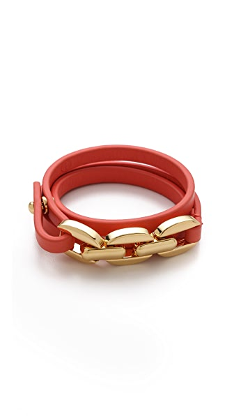 Tory Burch Chain & Leather Triple Wrap Bracelet