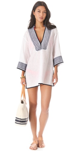 Shop Tory Burch Pearl Tunic Cover Up online and buy Tory Burch latest season - Apparel, Womens, Swim, Coverups,  online shop
