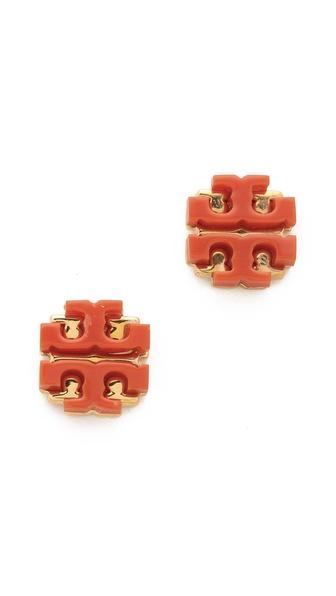 Tory Burch Enamel Large T Logo Stud Earrings