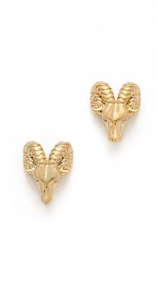 Tory Burch Ram Head Stud Earrings
