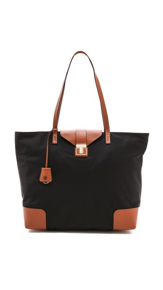 Tory Burch Penn Tote - Black/Luggage at Shopbop