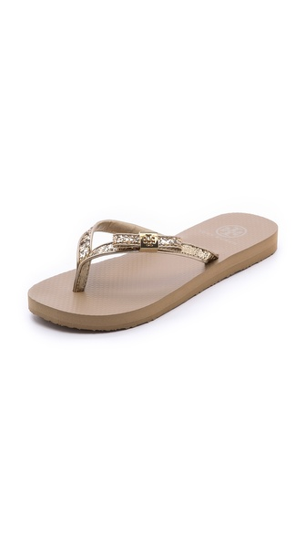 Tory Burch Carey Metallic Flip Flops