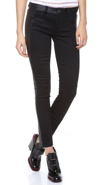 Tory Burch Harlow Leather Biker Jeans