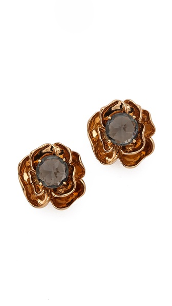 Tory Burch Crystal Rose Stud Earrings