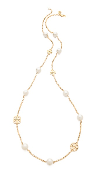 Tory Burch Evie Logo Chain Rosary Necklace