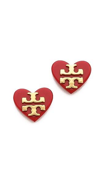 Tory Burch Tilsim Logo Heart Stud Earrings