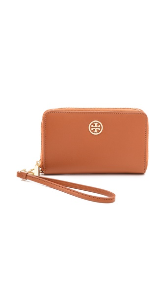 Tory Burch Robinson Smartphone Wristlet - Luggage/Coastal Blue at Shopbop / East Dane