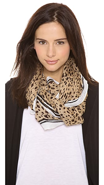 Tory Burch Animal Print Brushstroke Scarf