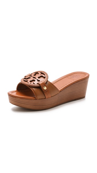 Tory Burch Magdalena Mid Wedge Slides - Vintage Vachetta