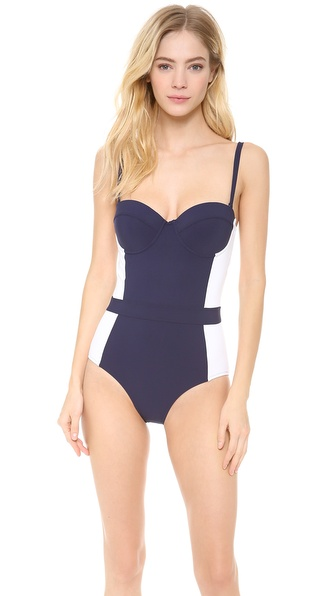 Tory Burch Lipsi Color Block One Piece Swimsuit