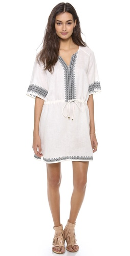 Shop Tory Burch online and buy Tory Burch Skye Cover Up Dress - Elaborate embroidery adds a bohemian touch to a crisp linen cover-up dress. Drawstring waist. Short raglan sleeves.  Fabric: Slubbed weave. 100% linen. Hand wash. Imported, China.  MEASUREMENTS Length: 33in / 84cm, from shoulder - Ivory/Tory Navy