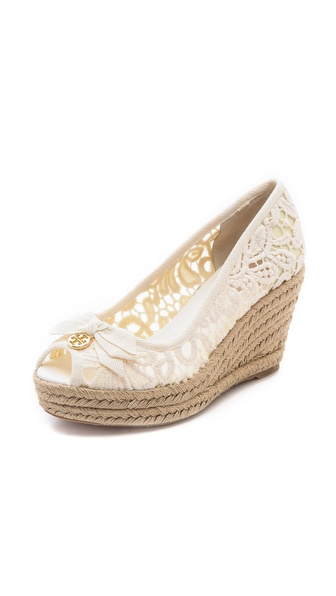 Tory Burch Jackie Peep Toe Wedge Espadrille