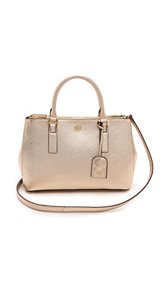 Tory Burch Robinson Metallic Mini Double Zip Tote