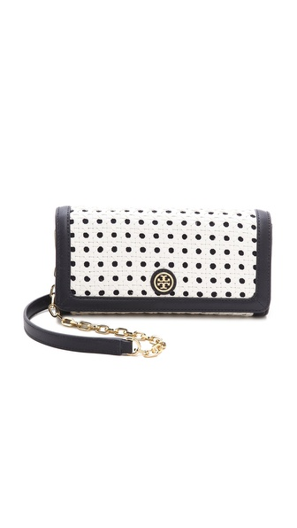 Tory Burch Robinson Basket Weave E/W Clutch