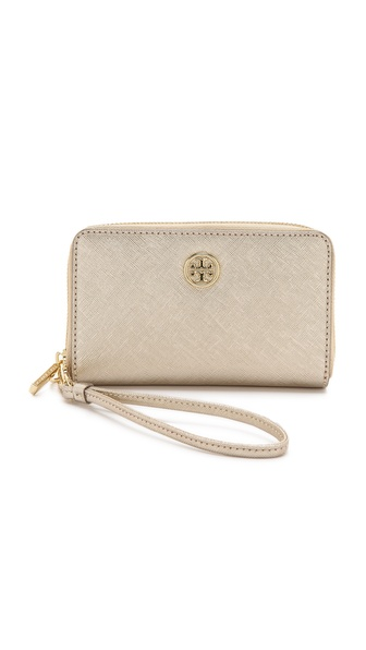 Tory Burch Robinson Smartphone Wristlet - Gold/Gold at Shopbop / East Dane