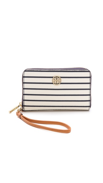 Tory Burch Robinson Printed Smart Phone Wristlet - Navy Fleet Stripe at Shopbop / East Dane